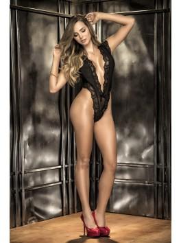 Grossiste lingerie sexy Body string noir dentelle avec décolleté en pointe