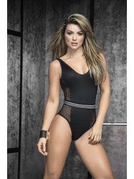 Grossiste lingerie sexy Body noir dos nu effet humide et côtés filet