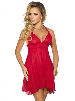 Grossiste lingerie sexy Nuisette volante rouge décolleté avec string