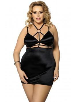 Grossiste lingerie grande taille Nuisette noire grande taille satinée avec ornements