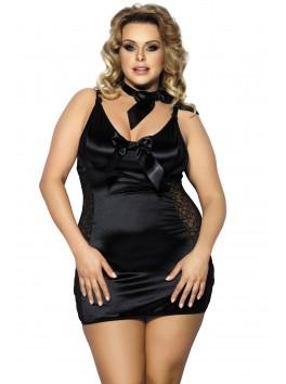 Grossiste lingerie Nuisette noire grande taille satinée et dentelle avec laçage dos et tour de cou