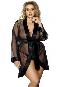 Grossiste lingerie Peignoir noir grande taille transparent et bordures satinées avec string