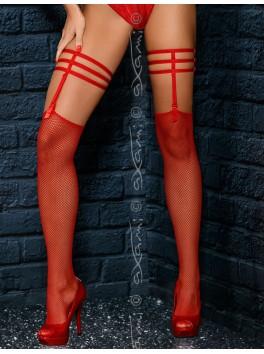 Grossiste lingerie Bas resille rouge court avec jarretières à suspension
