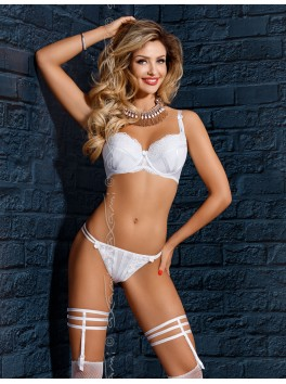 Grossiste lingerie Soutien-gorge blanc push-up ornements brillants
