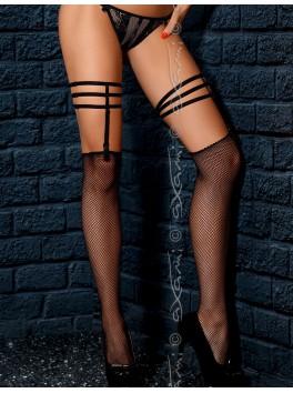 Grossiste lingerie Bas resille noirs court avec jarretières à suspension