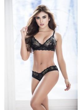 Grossiste lingerie Ensemble sexy noir soutien-gorge décolleté et culotte ouverte sur les fesses
