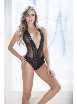 Grossiste lingerie Body noir dentelle décolleté plongeant dos bordé de dentelle réglage entre-jambes