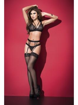 Fournisseur lingerie Ensemble lingerie noir soutien-gorge ornements string et porte-jarretelles