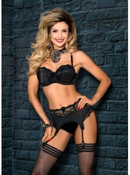 Grossiste lingerie Soutien-gorge noir dentelle push-up balconnet