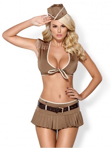Costume sexy femme militaire chapeau top décolleté épaulettes mini-jupe ceinture et string