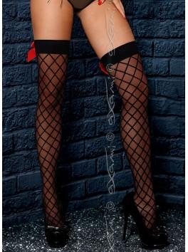 Grossiste lingerie Bas sexy autofixants noirs avec effet resille filet et noeud rouge arrière