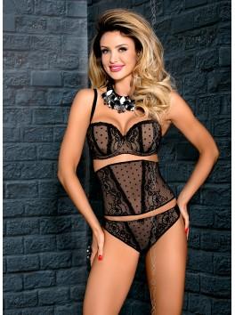 Grossiste lingerie Soutien-gorge noir push-up balconnet dentelle à motifs
