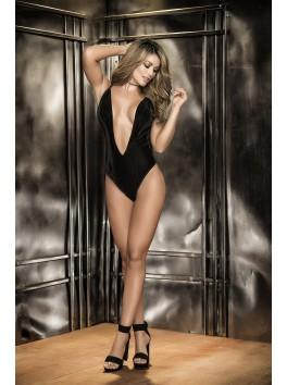 Grossiste lingerie sexy Body sexy noir double décolleté avant velours dos dentelle