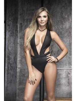 Grossiste lingerie sexy Body sexy noir look sportif très décolleté et effet humide