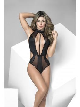 Grossiste lingerie Body tanga noir opaque et transparent côtés ajourés