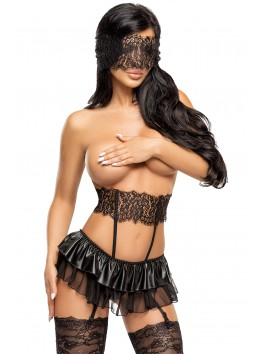 Grossiste Beauty Night Ensemble sexy noir mini-jupe string et porte-jarretelles dentelle
