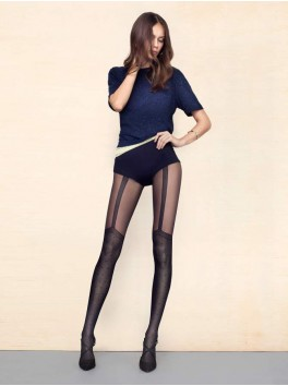 Spice Up black 40den patterned stockings provider Fiore