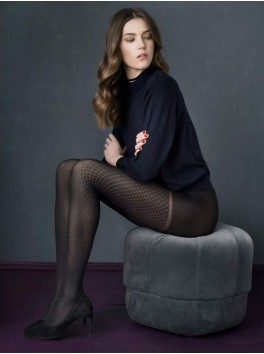 September black patterned stockings 60 den Fiore