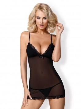 841-che Obsessive chemise black glamour and chic with its thong