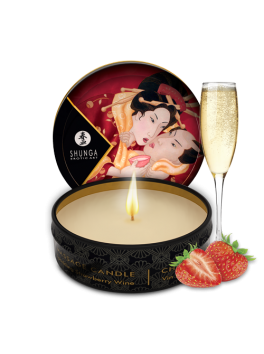 Mini massage candle - Sparkling Strawberry Wine shunga