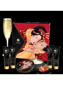Fournisseur shunga : Coffret plaisir bougie massage vin petillant fraise