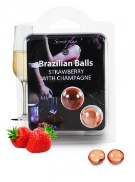Brazilian balls Boules bréziliennes de massage à la fraise champagne
