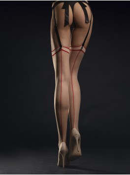 Madame Stockings 20 DEN - Nude & Red