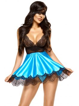 Eve chemise with mask - Turquoise
