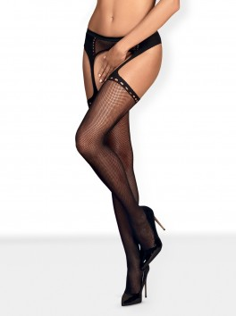 S314 Garter stockings - Black