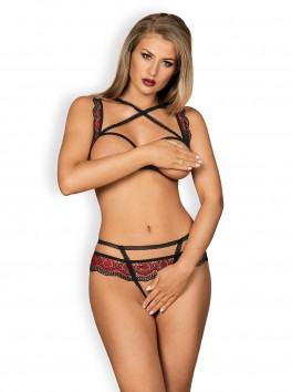Megies Crotchless Set 2 pieces - Black & Red