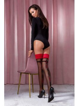 ST114 Stockings 20 DEN - Black & Pink