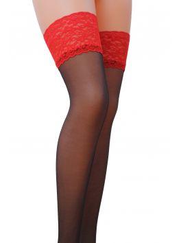 ST004 Stockings 17 DEN - Black & Red