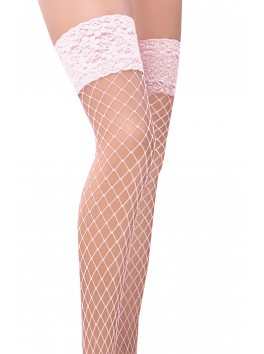 ST021 Stockings Fishnet - White