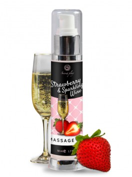 Huile de massage embrassable au parfum de fraise et vin pétillant en 50 ml