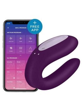 Stimulateur connecté pour couple Satisfyer Double Joy - Violet