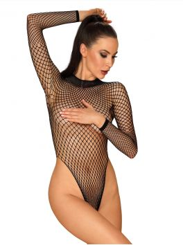Obsessive black fishnet teddy and open back