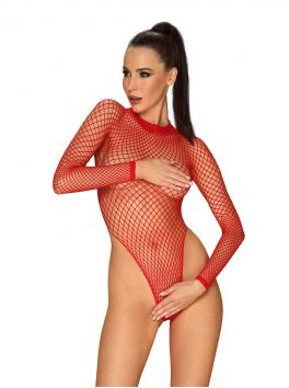 Amazing fishnet red teddy with open back by Obsessive lingerie