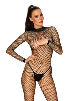 Obsessive black bodystocking in fishnet with open back