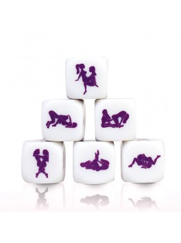 Kamasutra Lesbian erotic white and purple dice from the brand Secret Play