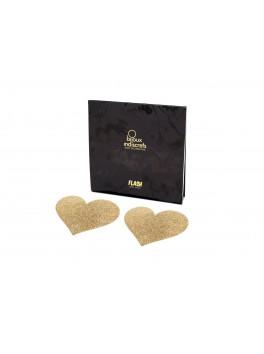 grossiste bijoux indiscrets : cache tetons nipples coeurs dores