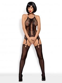 grossiste lingerie sexy Combinaison bodystocking noire effet porte-jarretelles dos nu