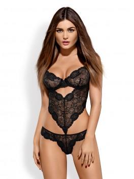 grossiste lingerie sexy Body noir sexy dentelle avec armatures et laçage façon corset