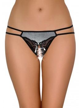 Grossiste lingerie sexy Culotte ouverte argentée avec dentelle noire