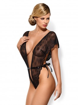 grossiste lingerie sexy Body noir ouvert en dentelle décolleté profond